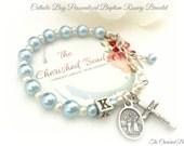 Catholic Boy Personalized Baptism Rosary Bracelet with Swarovski Light Blue and White Pearls - Guardian Angel