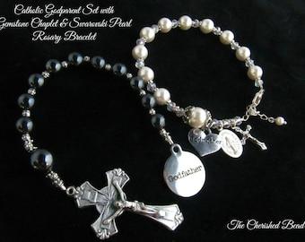 Catholic Godparent Gift Set- Godfather Gemstone Chaplet and Swarovski Pearl Godmother Rosary Bracelet