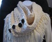 Hand crochet womens infinity scarf-Aron color