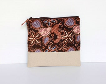 Fold Over Clutch, Foldover Clutch, Brown Indonesian Handpainted Batik, Nautical Botanical Theme, Evening Clutch, Linen Cotton Folded Handbag
