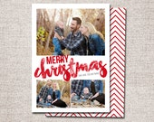 "Christmas card, Photo Christmas card, Holiday Card, Printable Christmas card, Modern Christmas card (""Merry Christmas 3 photo"")"