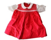 BLOWOUT 40% off sale Vintage 50s Little Girl's Red and White Embroidered Cotton Dress - 18 to 24 Months, Nannette
