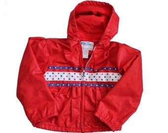 30% off sale // Vintage Weather Tamer Spring Coat - Girls Size Large - Childrens, red white blue, Stars