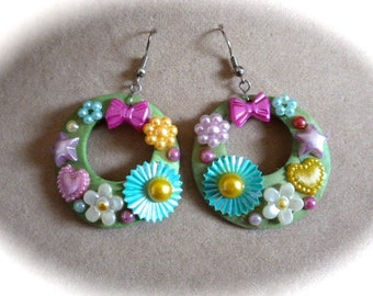 OOAK Boho Chic Hoop Earrings Fun for Spring Summer in Green with Pink, Blue, Yellow and Lavender Flowers, Bows, Hearts, Stars