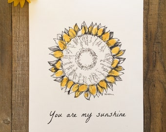 "Wedding Guest book alrenative, Limited Release, Sunflower Drawing, Fingerprint wreath, like fingerprint tree, 11x14"", with 1 ink pad + pen"