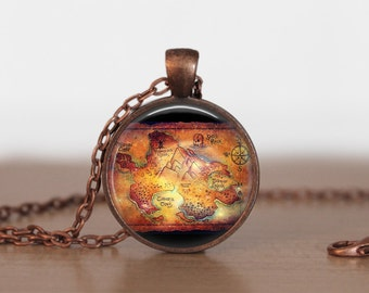 Neverland Map Pendant Jewelry  Neverland Map Necklace