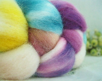 Hand dyed roving top for spinning felting crafting USA wool Party Time