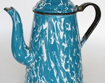 Blue and White Swirl Granite Ware Coffee Tea Pot