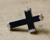 Victorian Whitby Jet cross with gold engraved caps ∙ antique black mourning cross
