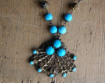 Vintage turquoise glass statement necklace ∙ Czech brass turquoise necklace