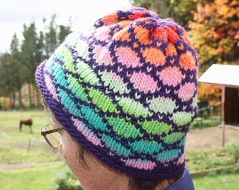Knitted Hat, Dark Purple and Rainbow, Fleece Lined