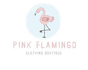 Diseño de logotipo, Flamingo Logo Logo pintado, Pastel Logo, Logo de los niños, tienda insignia, logotipo de empresa, logo de moda, fotografía Logo