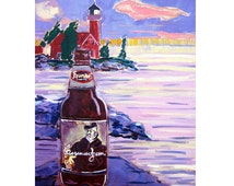 Michigan Beer Art, Curmudgeon Old Ale by Founders Brewing Beer Painting, Lighthouse Painting, Gift for Beer Lover, Craft Beer Gift for Him