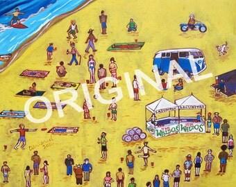 Where's Waldo Beer Painting, Waldo's Special Ale, Lagunitas Brewing, IPA, Beer & Beach Art, VW Bus Art, Craft Beer Gift, California Beer Art