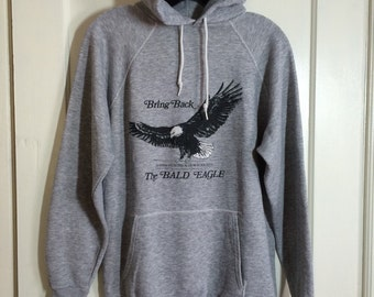 1970's Massachusetts Audubon Society Bring Back the Bald Eagle Hoody Sweatshirt looks size Large Heather Gray