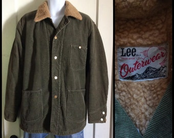 1970's Lee Fleece Lined Corduroy Chore Jacket looks size XL Olive Green Union Made