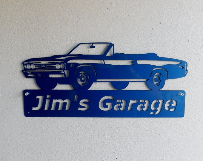 1967 Chevelle Convertible - Personalized Metal Sign- Man Cave- Classic - Muscle Car -Garage Sign -Custom Colors