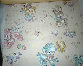 Full roll Vintage Baby Nursery childrens Wallpaper lamb bunny bears