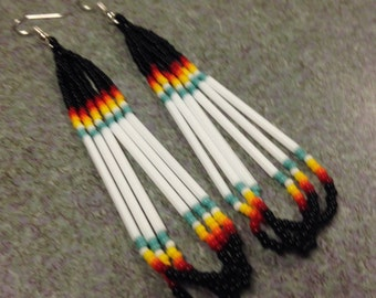 Native American  style Black, Multi Colored Beaded Earrings