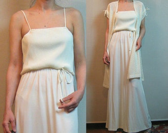 70s CROCHET LACE ACCORDION Vintage Micro Pleated vtg White Ivory Belted Maxi Dress w/ Cardigan Tie Shoulders 2 Piece Set xs Small s/m 1970s