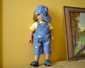 18 Inch Doll Blue Denim Print Capri Overalls, Yellow Short Sleeve Tshirt and Matching Ballcap by SEWSWEETDAISY