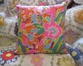 Lilly Pulitzer Lulu Multi Flamingo Garnet Hill Fabric 16 inch Throw Pillow