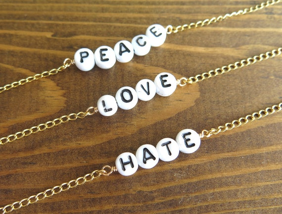 Peace - Love - Hate - Glass Beaded Word - Anklet - Choker - Necklace - You Choose