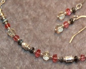 SET - Watermelon Spinel, Spactolite, and Cats eye crysoberyl on sterling silver necklace and earrings set by EvyDaywear