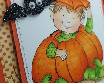 Halloween Cutie - Handmade Greeting Card - Blank Note Card, Cuteness, Holiday