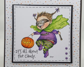 Halloween Girl Candy Trickster - Handmade Greeting Card - Blank Note Card, Cuteness, Holiday
