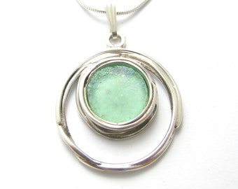 Ancient  Roman Glass 925 Sterling Silver Pendant