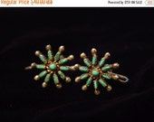 40% OFF 40s Vintage Turquoise Sterling Silver Zuni Petit Point Earrings Screw Back Dainty