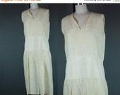 "40% OFF 20s Dress Vintage 1920s Sleeveless Silk Pale Yellow Drop Waist Semi Sheer Wedding As is S B 37"""