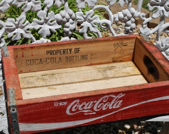 Vintage Wooden Undated-Undivided Coke Crate, Shadow Box, Vintage Coke Box, Coke Tray, Soft Drink Box.