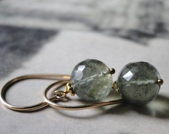 SALE LUXE Gold Jewelry, 14k Gold Earrings, Gemstone Earrings, Gemstone Earrings, Moss Agate, Accessories, 14kt Gold Filled Hoops, Gift Box