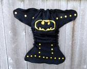 Upcycled Wool Nappy Cover Diaper Wrap Cloth Diaper Cover One Size Fits Most Black  With Batman Applique/ Black