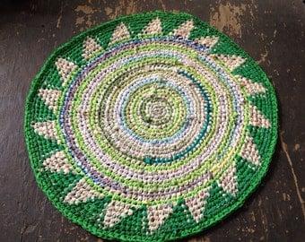 Green Fair Isle Rag Rug