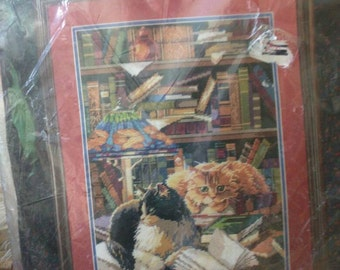 Vintage Bucilla needlepoint cats books friends of the library NOS complete kit 12x16