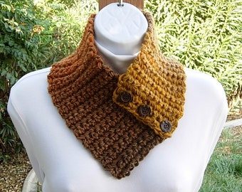 Small NECK WARMER Scarf with Three Buttons, Gold Yellow Dark Brown Caramel Orange Buttoned Cowl, OOAK Soft Crochet Knit..Ready to Ship