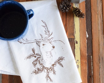 Cloth Napkins - Screen Printed Cotton Cloth Napkins - Eco Friendly Dinner Napkins - Reindeer - Cotton Napkins - Reusable - Christmas Napkins