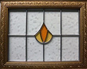 Stained Glass English Panel w Decorative Wood Frame