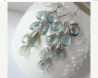 SALE Moss Aquamarine silver earrings. Dangle earrings. March Birthstone earrings. Wire wrapped. Drop earrings. Aquamarine Silver leverback