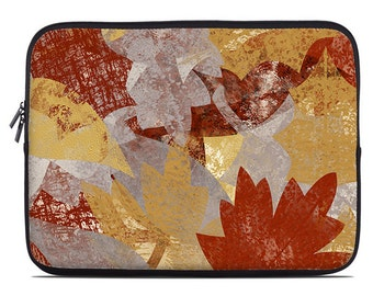 Fall leaves laptop sleeve, laptop cover, laptop case, netbook case, to fit 10, 13, 15, 17 inch, rust, mustard yellow, gray