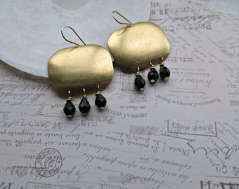 BoHo earrings, Black Faceted Teardrop earrings