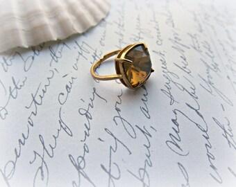 Sand Opal Swarovski Crystal Adjustable ring