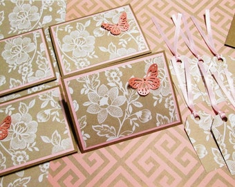 Handmade Stationery Boxed Note Card Set - 4 Floral Note Cards, 4 Envelopes, 6 gift tags and a handmade stationery or gift box