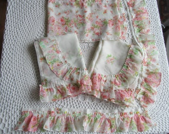Vintage Curtains White with Pink Flowers Sheer 2 Panels and Valance Tie Backs Cafe