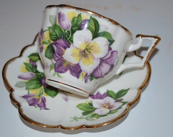 Salisbury cup and saucer purple flowers - bone china England teacup floral gold