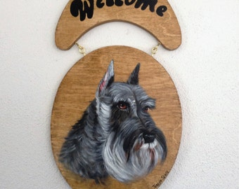Welcome Sign,Schnauzer Sign,Schnauzer Door Sign,Schnauzer Welcome Sign,Sign for door,Schnauzer Painting,Custom Dog Painting,Hand Painted