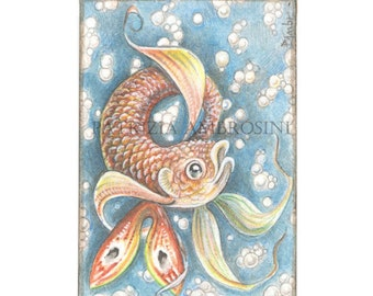 Original ACEO HANDPAINTED.. koifish2  .OOAK..Original  watercolor Card painting water world